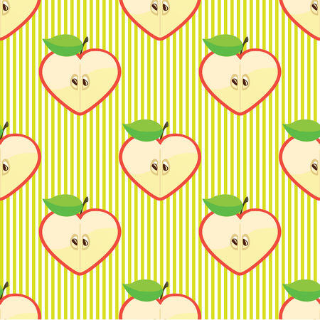 Vector Halves apple in a shape of a heart Seamless vector pattern or background Traditional fabric kiddie ornament  Vector