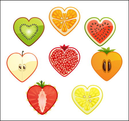 Cut of differend fruits and berries in the shape of a heart White background  photo