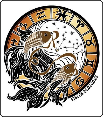 Zwei Goldfische halten Mund Band hinter ihnen sind Symbole für alle Sternzeichen Standard-Bild - 24519948