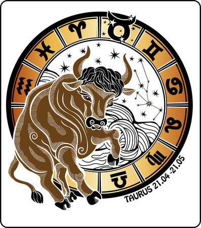 One animal Taurus  rides behind them are symbols of all zodiac signs    Vector