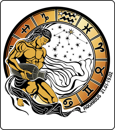Tanned long haired male Aquarius sits and pouring water out of a vase  He dressed in drapery  Behind him, range of horoscope signs of the zodiac ,the stars and the constellation of Aquarius