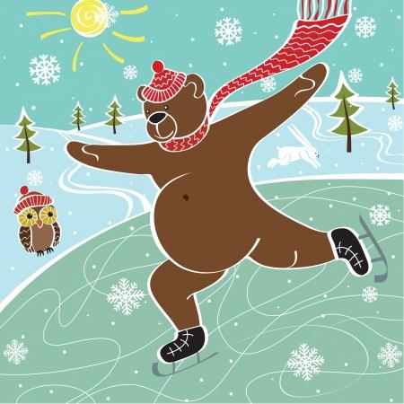 skating rink: One brown bear is skating on the skating rink in winter. Humorous illustration Illustration