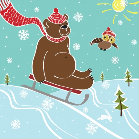 rolling landscape: One brown bear sledding with mountain nature  Humorous illustration