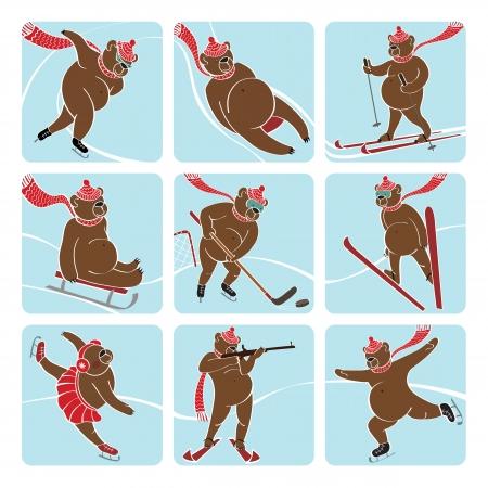 skier jumping: Nine brown bear plays a winter sport   sprint,Luge,skis,sledges,ice hockey,ski jumping,figure skating,biathlon  Screensavers,icons Humorous illustration