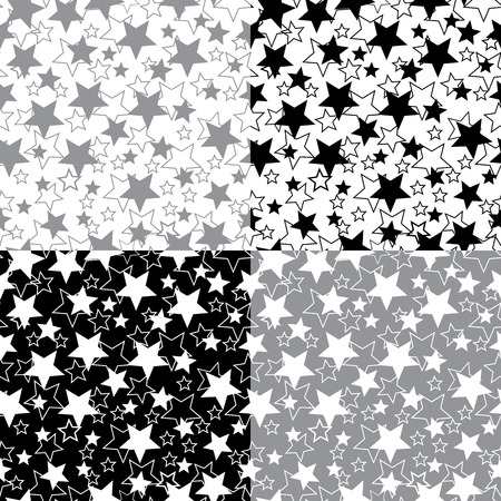 randomness: Seamless ornament or background  Stars of white and black colors  Two options ornament  Vector   Illustration