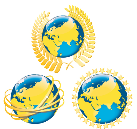 eart: Four options for planet Earth surrounded by symbols of peace and the incarnation of the connection  Laurel wreath,golden ring,golden stars are around of planet Eart  The white background Vector illustration