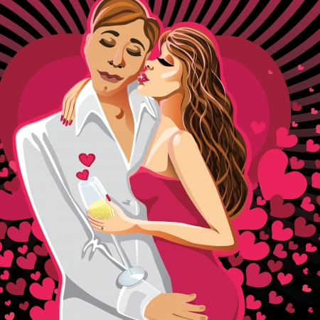 innamorati che si baciano: Gli amanti di un uomo e una donna in un abito rosa bacio sullo sfondo di cuori baciare la coppia Biglietto di auguri o poster per San Valentino
