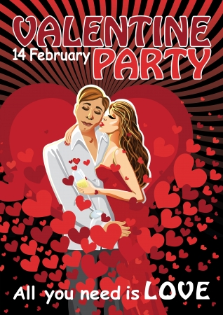 stiker: Lovers a man and a woman in a red dress kiss on the background of hearts  Inscription  All you need is love  and  Valentine party 14 february  Stiker or poster for Valentine Illustration