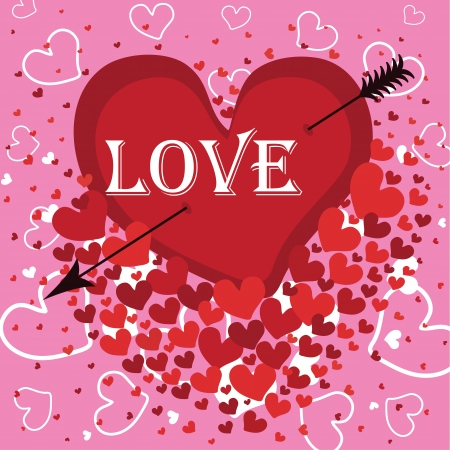 pierced: Heart pierced with an arrow  Against the background of flying hearts  Pink background  At the heart of the word love Vector illustration