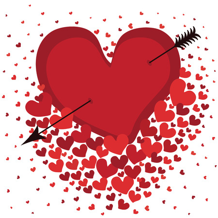 pierced: Heart pierced with an arrow   Against the background of flying hearts  White background  Vector illustration