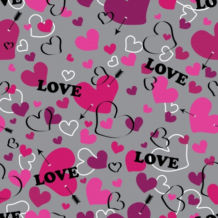 Multi-colored heart with an arrow on a white background and the inscription love  Seamless ornament or a background fabric,Wallpaper,packaging  The vector  Vector