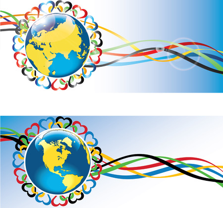modernity: Planet Earth is surrounded by the ornament of hearts in the sports competition colors Gorizontal Banners  Vector illustration Illustration