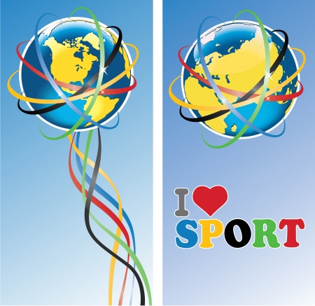 Planet Earth in rings around and ribbons with the colors  Vertical banner  The phrase  I love sport   Vector Illustration