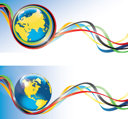 modernity: Planet Earth in rings around and ribbons with the colors Horizontal banner  Vector
