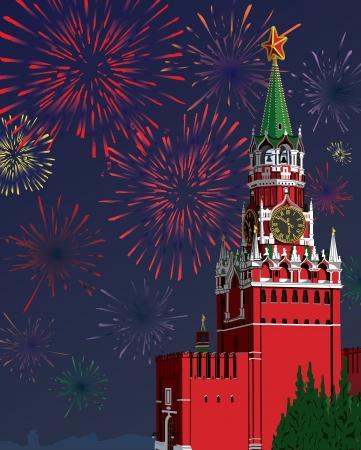 spasskaya: A graphic illustration of the Moscow Kremlin.Festive fireworks.Vector