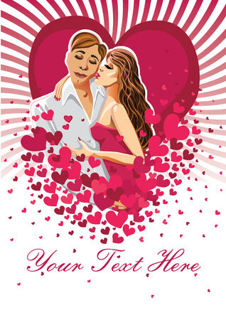 prety: Kissing man and woman on hearts background Design template Greeting card or poster for Valentine