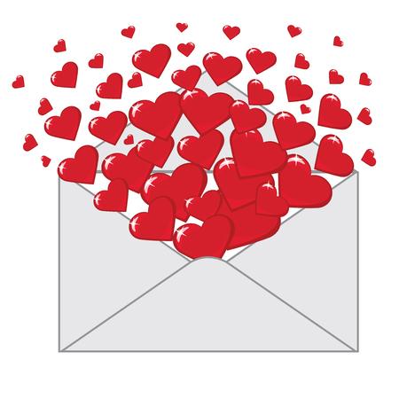voluminous: An open envelope with %u0440%u0430%u0437%u043B%u0435%u0442%u0430%u044E%u0449%u0438%u043C%u0438%u0441%u044F voluminous red hearts  The screen saver icon  illustration