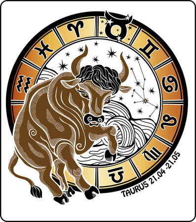 One animal Taurus rides behind them are symbols of all zodiac signs Horoscope circle