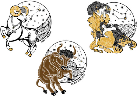 One Aries  rides,One Taurus  rides Two girls twins with long flowing hair dressed in ancient Greek tunic Behind are stars Rear neither x circle
