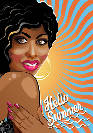 plump lips: Portrait of smiling beautiful mulattos Chicks with slogan Hello summer Back imitation sun  Poster, template,illustration