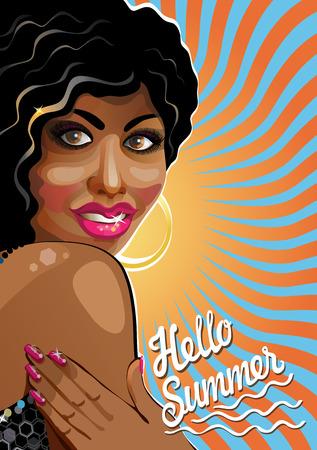 plump lips: Portrait of smiling beautiful mulattos Chicks with slogan Hello summer Back imitation sun  Poster, template,illustration