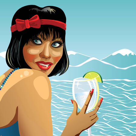 peak hat: Portrait of young cheerful female with short hair. She was holding glass of water. Behind a landscape of sea and mountains.Poster, template,illustration