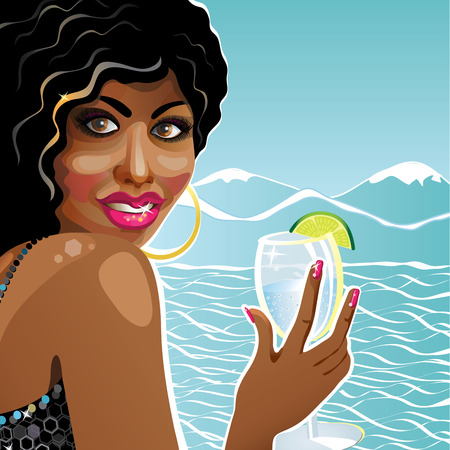 mulatto: Merry young mulatto girl holding a glass of clean water in his hand. On a background of mountains and sea. Poster, template,illustration