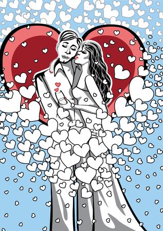 innamorati che si baciano: Gli amanti un uomo e una donna bacia sullo sfondo dei cuori Stiker, poster Cardor per San Valentino Vettoriali