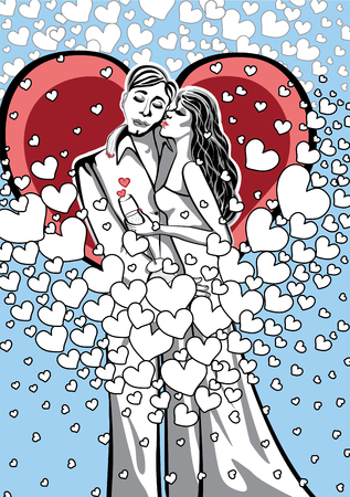 Lovers a man and a woman  kissing on the background of hearts  Stiker,cardor poster for Valentine Vector