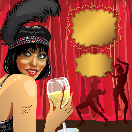 Smiling female with glass of champagne She wore a black pen Behind the Red curtain  Two Cabaret dancer  Poster, template,illustration, invitation ticket  Retro vignettes for text Vector