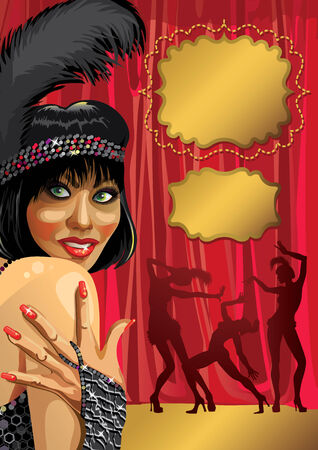 Smiling female with gloved hand She wore a black pen Behind the Red curtain  Tree Cabaret dancer  Poster, template,illustration, invitation ticket  Retro vignettes for text Vector