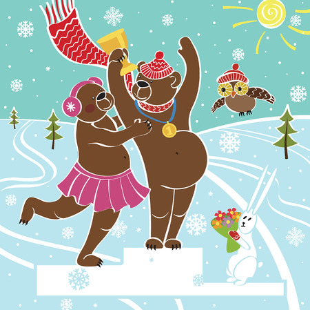winter sports: One brown bear champion standing on pedestal  It congratulates the bear female Competitions in winter sports  Awarding of the winners Snow-covered landscape Humorous illustration, cartoon