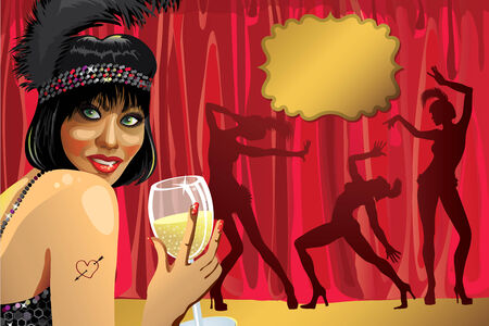 Smiling female with glass of champagne She wore a black pen Behind the Red curtain Tree Cabaret dancer  Poster, template,illustration, invitation ticket  Retro vignettes for text Vector