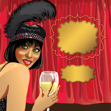Smiling female with glass of champagne She wore a black pen Behind the Red curtain  Cabaret dancer  Poster, template,illustration, invitation ticket  Retro vignettes for text Illustration