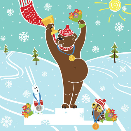One brown bear champion standing on pedestal  Competitions in winter sports  Awarding of the winners Snow-covered landscape Humorous illustration, cartoon Vector