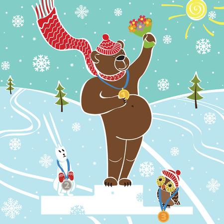 sport invernali: Un campione di orso bruno in piedi sul piedistallo Concorsi sport invernali Premiazione dei vincitori coperte di neve paesaggio illustrazione umoristica, cartone animato