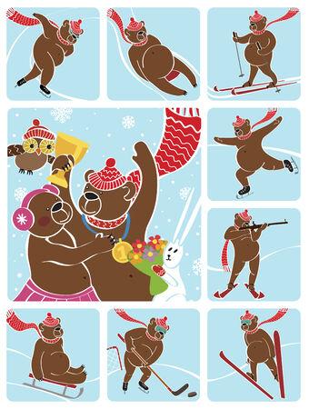 sport invernali: Un campione di orso bruno in piedi sul piedistallo Si congratula con il bear femminili Concorsi sport invernali Premiazione dei vincitori coperta di neve paesaggio illustrazione umoristica, cartone animato