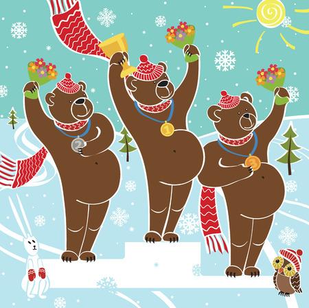 sport invernali: Albero campione orso bruno in piedi sul piedistallo Concorsi negli sport invernali Premiazione dei vincitori coperte di neve paesaggio illustrazione umoristica, cartone animato