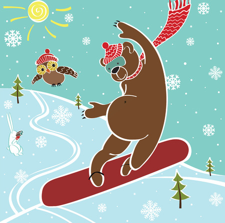 sport invernali: Un orso bruno salta su uno snowboard Contro l'azzurro del cielo e il paesaggio Sport invernali Umoristica illustrazione vettoriale Vettoriali