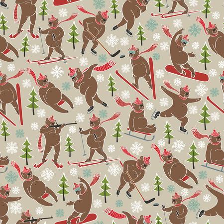 Brown bear plays a winter sport. Seamless pattern Vector