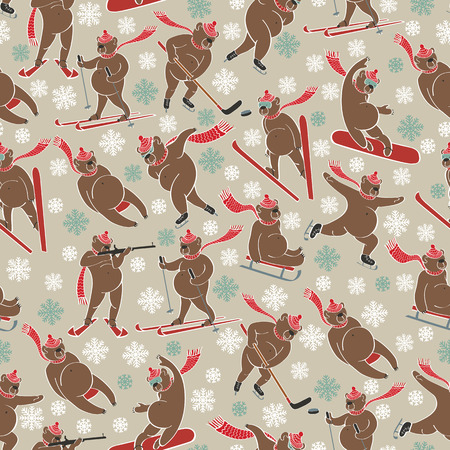 Brown bear plays a winter sport. Seamless pattern Vector