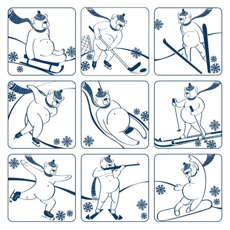 luge: Nove orso bianco gioca un sprint sport invernali, slittino, sci, slitte, hockey su ghiaccio, salto con gli sci, pattinaggio artistico, biathlon, snowboard, screensaver Bicolor, icone Vector umoristico illustrazione