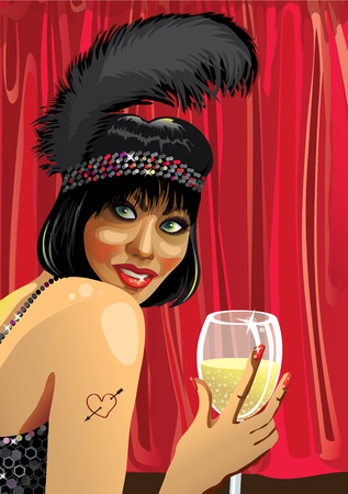 Smiling female with glass of champagne Vector