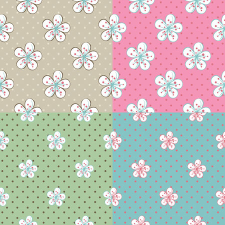 Cartoon Flowers of cherry or Apple trees on the background of polka dot. Set of Vector seamless pattern  Vector