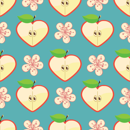 Apple halves heart shaped and Flowers on the blue background Vector