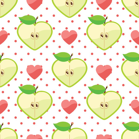 Apple halves heart shaped and heart on the white polka dot background  Vector