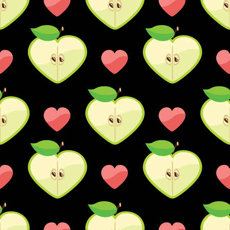 Apple halves heart shaped and heart on the black background  Vector