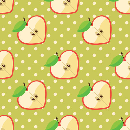 Apple halves heart shaped and polka dot on the green background  Vector