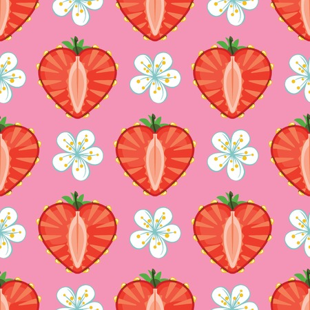 Strawberry halves heart shaped and flowers on the pink background  Vector