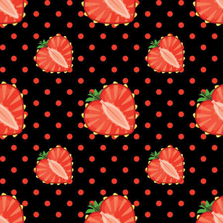 Strawberry halves heart shaped and polka dot on the pink background Vector